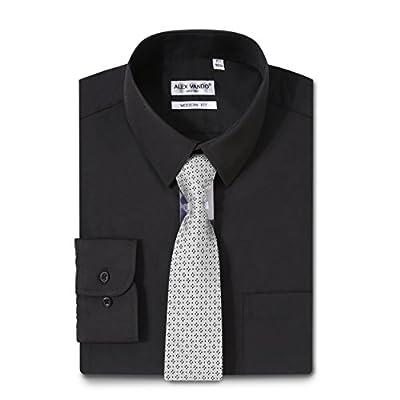 Alex Vando Mens Dress Shirts Regular Fit Solid Color Shirt