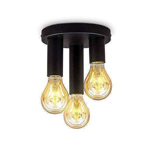 B.K.Licht 3-flammige Retro Deckenleuchte I E27 I Matt Schwarz I Metall I Ø19x16,5cm I Deckenspot I ohne Leuchtmittel