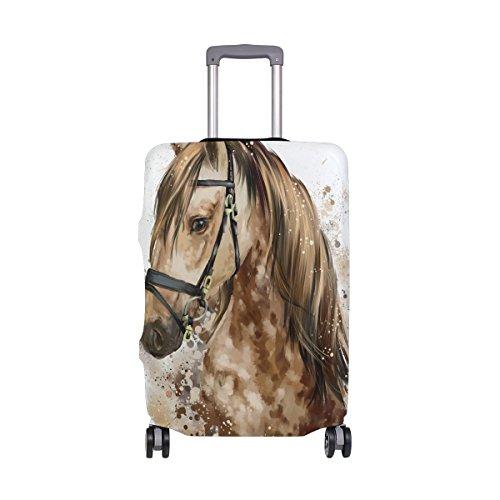 Copertura per valigia con testa di cavallo ad acquerello, super leggera, adatta per bagagli da 46 a 32 pollici