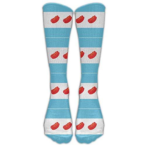Calcetines deportivos para hombre y mujer, diseño de la bandera de Chicago HotDog