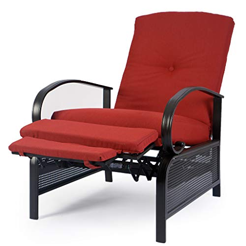 Kozyard Adjustable Patio Reclining Lounge Chair with Strong Extendable Metal Frame and Removable Cushions for Outdoor Reading, Sunbathing or Relaxation (Burgundy)