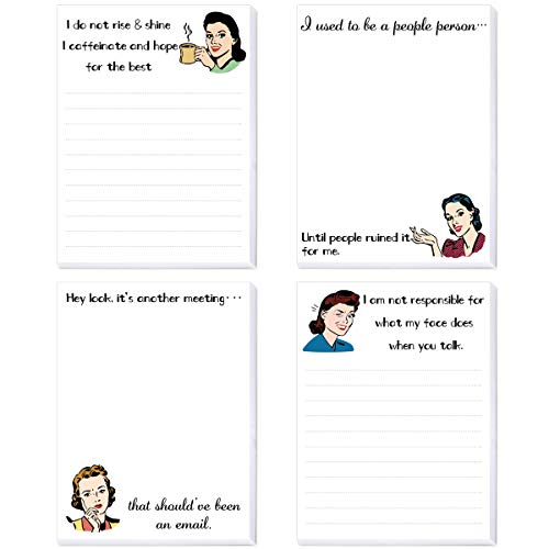Funny Novelty Memo Pads Funny Notepads for Office Gift for Coworkers 4 Pack
