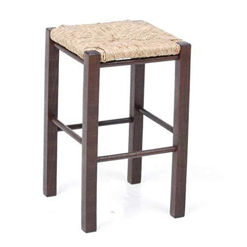 Ancien tabouret en bois et paille solide pratique confortable.HAUT 44,7 CM