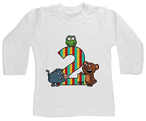 Hariz - Camiseta de manga larga para bebé, diseño de osito del bosque, 2 cumpleaños, niños, incluye tarjetas de regalo, diente de leche, color blanco