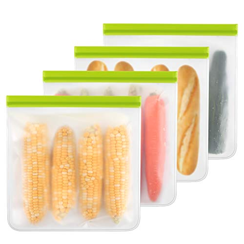 Reusable Gallon Bags - 4 Packs, Reusable Freezer Bags Easy Seal & Leak-Proof, BPA-FREE PEVA Washable Freezer Bags for Marinate Meats, Fruit, Cereal, Sandwich, Snack, Travel Items, Meal Pre