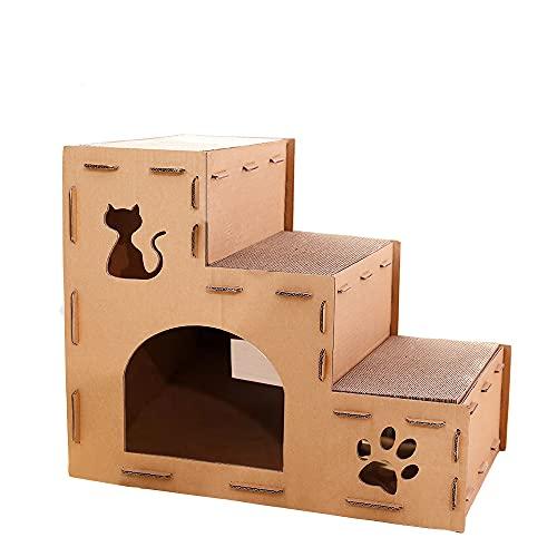 (レコンフォルテ)猫つめとぎ 爪とぎ猫ハウス キャットタワー ダンボールハウス 組み立て式 爪とぎ兼ベッド キャットハウス3段式 高さ52横63奥行40