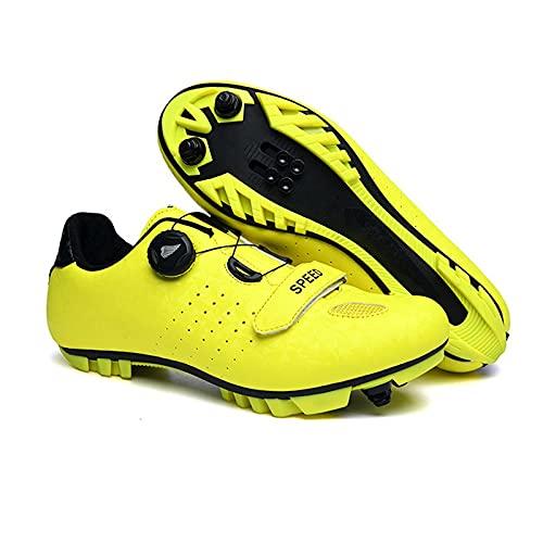ZHBW Zapatos De Ciclismo Unisex Bicicleta Carbono MTB,Zapatillas Deporte para Hombre (Color : Yellow, Shoe Size : 40 EU)