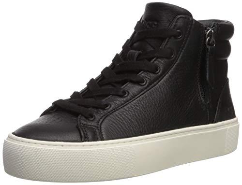 UGG Women's OLLI Sneaker, Black/White Leather, 8 M US