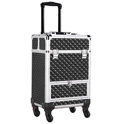 Yaheetech Makeup Trolley on Wheels/Cosmetic Case Organiser/Large Makeup Beauty Case/Lockable Nail Case Trolley with Drawer/Nail Technicians Makeup Artists/Black
