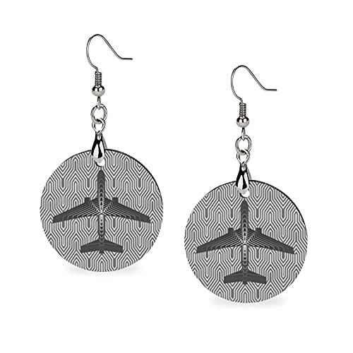 Pendientes de madera para mujer, diseño de avión Art Deco, color gris plata y gris claro, pendientes de gota de madera redondos, pendientes de gota