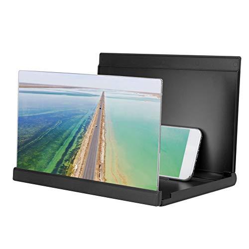 Stativ med förstoringsglas för telefoner, 2-4 gånger förstoring Universalförstärkare för mobiltelefoner och surfplattor skärm, stationär dator för att titta på filmer Videor(negro)