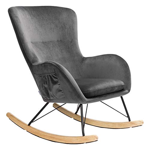 INMOZATA Rocking Chair Velvet Fabric Rocker Relaxing Chair Dark Grey Modern Lounge Armchair with Metal and Solid Wood Legs Support Load 150 kg