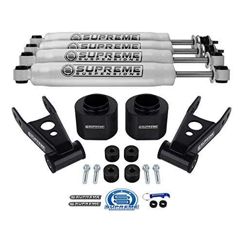 Supreme Suspensions - 3' Front + 2' Rear Lift Kit for Jeep Cherokee XJ [4wd] High-Density Delrin Spring Spacers + Steel Lift Shackles + Transfer Case Drop + Pro Performance Series Shocks