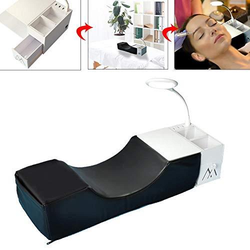 PITCHBLA Premium Wimpernverlängerungskissen mit U-förmigem Salon Wasserdichtes Kurven-Gedächtnis-Baumwollkissen + Acrylregal-Organisatorständer + USB + Licht