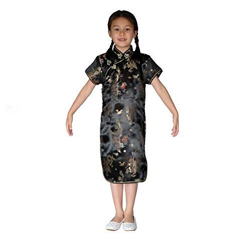 Cinda Mädchen Satin Drache und Phönix Chinesische Kleid Schwarz 134-140