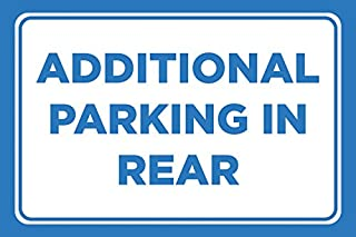 Additional Parking in Rear Print Blue White Car Lot Horizontal Notice Business Store Office Sign Large, 12x18