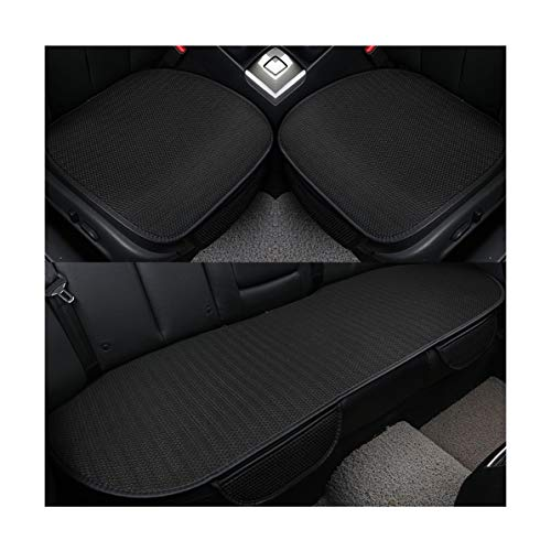 GUOCU Auto-Sitzkissen, Sommer-Auto-Sitz-Kissen-einzelne Auflage-EIS-Seide-Quadrat-Auflage Backless Universal Anti-Rutsch-freies, das Sitz-Kissen bindet,Schwarz,Vordersitz & Rücksitz