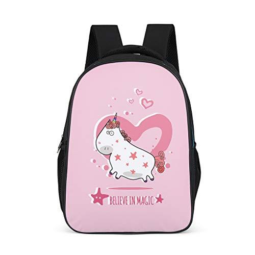 Mochila escolar unisex para niños, diseño de unicornio mágico rosa, mochila para niños, mochila elegante con correas anchas y cómodas