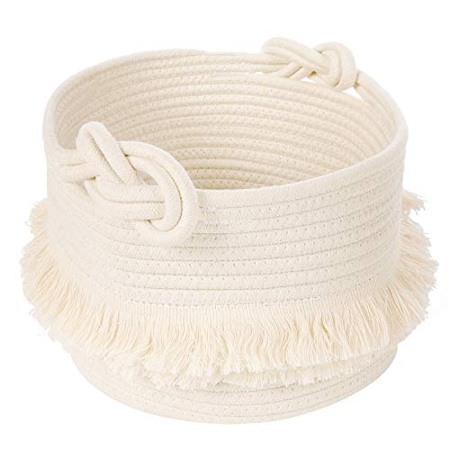 Small Woven Storage Baskets Cotton Rope Decorative Hamper for Diaper Blankets Magazine and Keys Cute Tassel Nursery Decor  Home Storage Container – 95#039#039 x 7#039#039