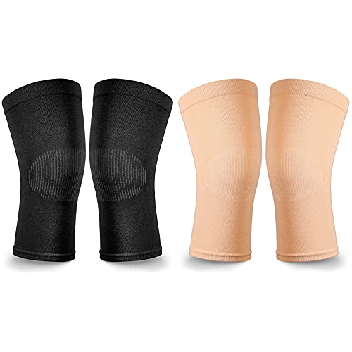 2 Pair Knee Brace Compression Sleeves Knee Support Brace for Meniscus Tear, Lightweight Knee Sleeve for Arthritis Pain Relief, Knee Support for Men and Women for Running, Weight Lifting (Black, Beige)