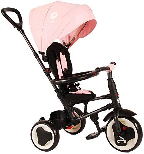 QPLAY Kinder-Dreirad Rito Deluxe Rosa | UV-Dach Freilauf Lenkstange Klappbar