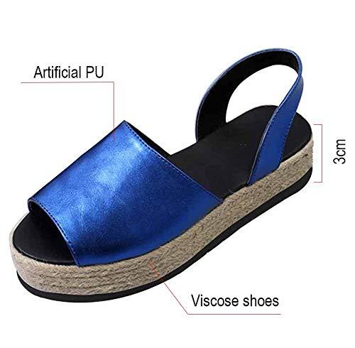 Dames sandalen Summer wig hak Plateau espadrilles leer kant open gesp 3 cm hiel platte vakantie blauw 2019