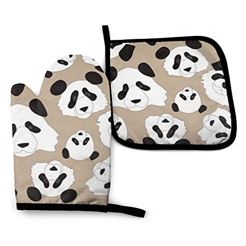 BONRI Pattern Pandas Manoplas de horno y soportes para ollas Conjuntos de guantes de horno y agarraderas con guantes de cocina antideslizantes de poliéster reciclable para cocinar y asar