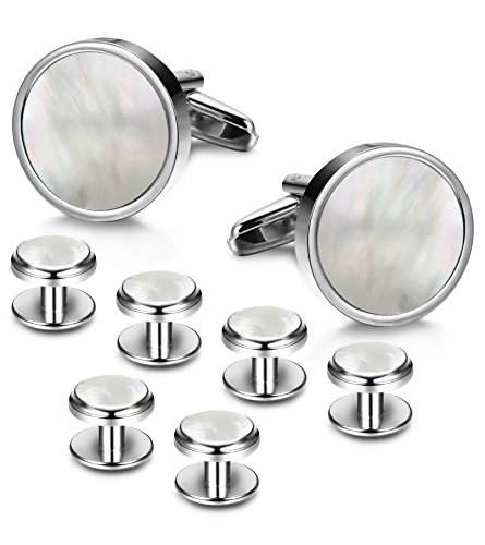 LOYALLOOK 8pcs Mens Silver Tone Mother of Pearl Shell Round Cufflinks and Shirt Stud Set Tuxedo Shirts Business Wedding