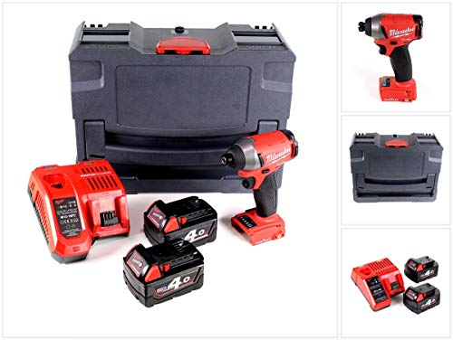 Milwaukee M18 ONEID-402C accu slagschroevendraaier 18V 1/4' 203Nm + 2x accu's 4,0 Ah + oplader in TANOS systainer® T-Loc II