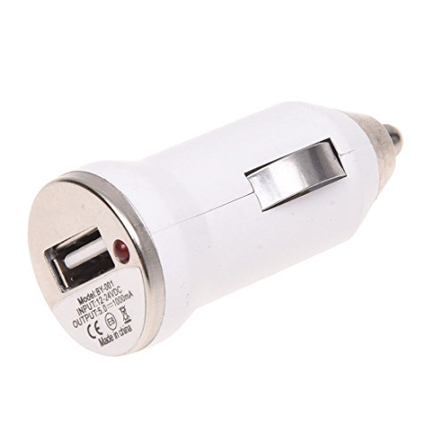 TOOGOO(R) USB Adaptador cargador de encendedor de cigarrillo de coche para iPhone 5S 4S iPod Galaxy S3 S4 blanco