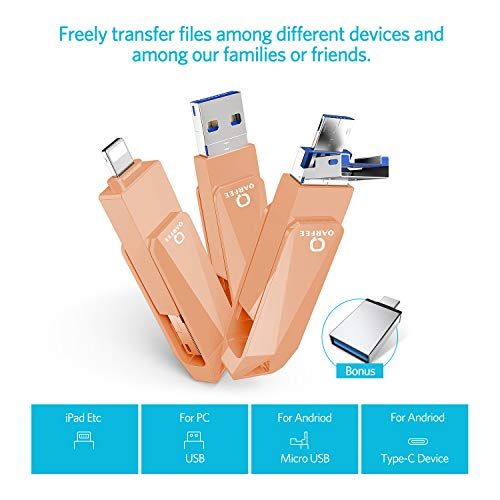USB Stick 128GB für iPhone Qarfee USB 3.0 Flash Drive USB C OTG Handy Speicherstick Memory Stick für iPhone iPad iOS Android Type C Anschluss PC(orange pink)