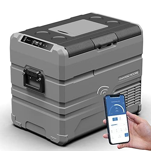 Dual Temperature Control Portable Car Refrigerator 48 Quart(45 Liter) 12 volt Cooler Mini Fridge Freezer for Travel Camping Fishing Outdoor -12/24V DC