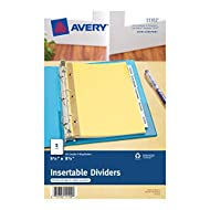 Avery Mini WorkSaver Insertable Tab Dividers, 5.5 x 8.5 inches,  5-Tab Set, 1 Set (11102),Buff