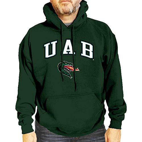 Campus Colors NCAA Adult Arch & Logo Gameday Hooded Sweatshirt (UAB Blazers - Green, XX-Large)