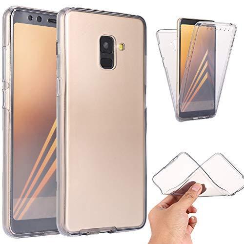 Ysimee Custodia Samsung Galaxy A8 Plus 2018, Custodie Integrale 360 Gradi Morbida TPU Trasparente Silicone Davanti e Dietro Bumper Gel Ultra Sottile Antiurto Cover per Samsung A8 Plus 2018 -Nera
