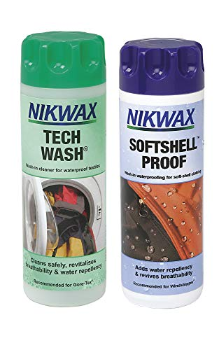 Nikwax NKW0195 Tech Wash/Softshell Proof Twin Pack Clean/Proof Value Pack - 0.3lt