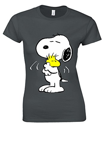 Snoopy Peanuts Cartoon Happy Cute Charcoal Women T Shirt Top-M