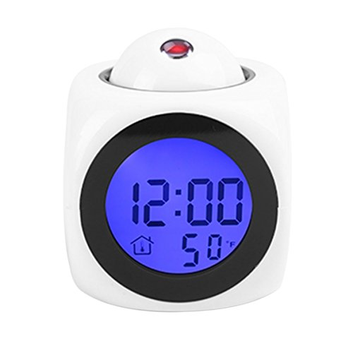 ACEHE Proyección LCD Multifuncional Reloj Despertador hablante de Voz Retroiluminación Reloj de Escritorio Digital con Pantalla de Temperatura