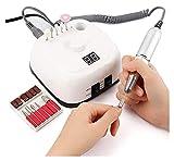 SHUHANG Pulidor de uñas eléctrico 35000RPM Pulerador Kit de Accesorios de Taladro de uñas 25W, con 11 Cuchillas Nail Grinder (Color : White, Size : 5.31x5.31x2.36in)