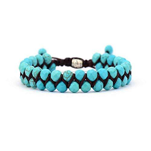 CMAO Männer Armband kühlen afrikanischen Stein Perlen geflochtene Manschette Armband handgemachte Freundschaftsbänder Herren Charm Armband Schmuck,Turquoise