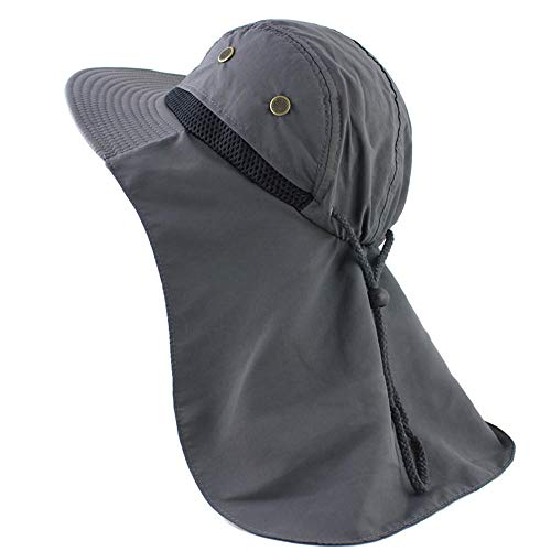 N/N Bucket Hat Sun Hats Casual with Neck Flap Outdoor Long Wide Brim Fishing Breathable for Fisherman Hats Women Men Spring Summer-Dark_Grey_55-60Cm