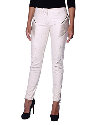 PIERRE BALMAIN - Pantalones Biker para Mujer Efecto Desgastado (5M7105/74243/003) - marfil, 34