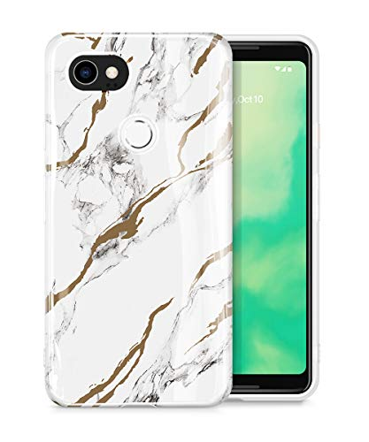 GVIEWIN Marble Google Pixel 2 XL Case, Ultra Slim Thin Glossy Soft TPU Rubber Gel Phone Case Cover Compatible Google Pixel 2 XL 2017 Release (White/Gold)