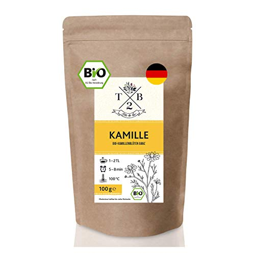 BIO Kamillentee lose aus ganzen Kamillenblüten getrocknet - Kamille für Tee & Dampfbad, 100g für ca. 35 Tassen   Tea2Be
