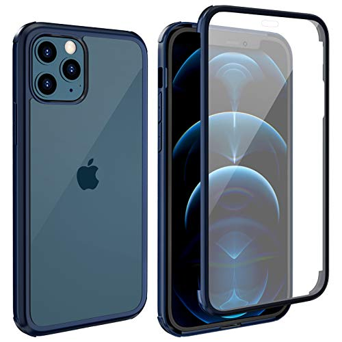 """LOFTer Coque Compatible avec iPhone 12 Pro Max avec Protège-écran Intégré en Verre Trempé 360 Degré Full Body Protection Antichoc Transparent Robuste Case pour iPhone 12 Pro Max 6.7"""" Bleu"""