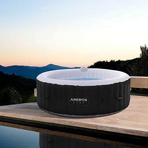 Arebos Whirlpool Rome | aufblasbar | In- & Outdoor | 6 Personen | 130 Massagedüsen | mit Heizung | 1.000 Liter | Inkl. Abdeckung | Bubble Spa & Wellness Massage