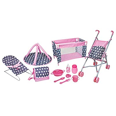 Lissi 5 Piece Doll Deluxe Nursery Play Set with 8 Accessories Role Toy by FLAHC