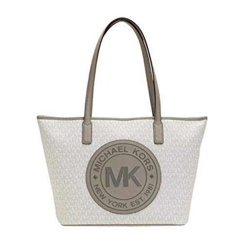"Signature PVC (Bright White) Leather Trim & Handles (Gray) Large Logo on Front Zip Top Closure Double Straps Silver Tone Hardware approx dimenstions 18"" x 12"" x 6"""
