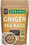 Organic Ginger Tea Bags | 100 Tea Bags | Eco-Conscious Tea Bags in Kraft Bag | Raw from India | by...