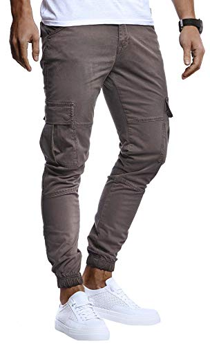 Leif Nelson Herren Hose Jeans Stretch Jeanshose Chino Cargo Chinohose Jogger Freizeithose Stretch Slim Fit LN9285; W32L30, Anthrazit
